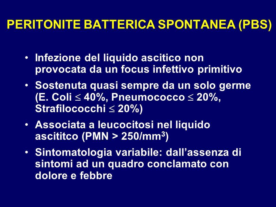 PERITONITE BATTERICA SPONTANEA (PBS) Infezione del liquido ascitico non provocata da un focus infettivo primitivo Sostenuta quasi sempre da un solo ge