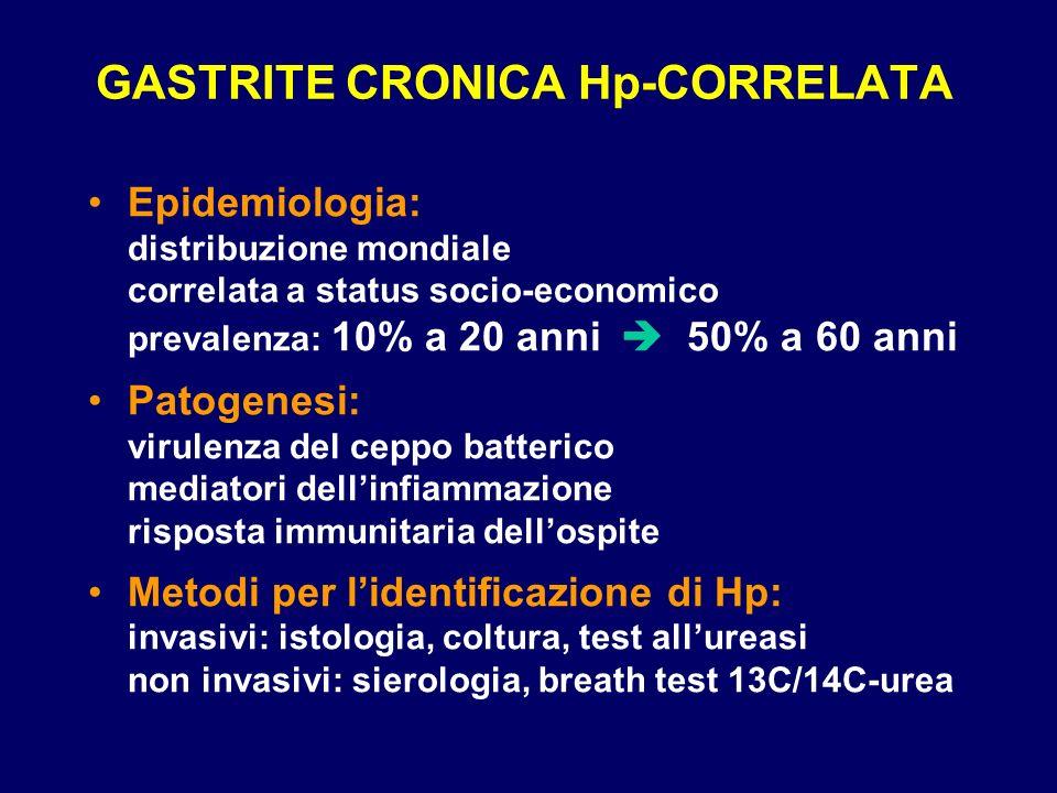 GASTRITE CRONICA Hp-CORRELATA Epidemiologia: distribuzione mondiale correlata a status socio-economico prevalenza: 10% a 20 anni 50% a 60 anni Patogen