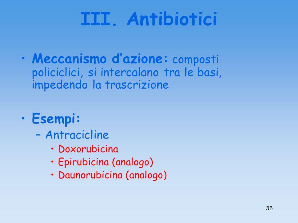 III. Antibiotici Meccanismo dazione: composti policiclici, si intercalano tra le basi, impedendo la trascrizione Esempi: –Antracicline Doxorubicina Ep