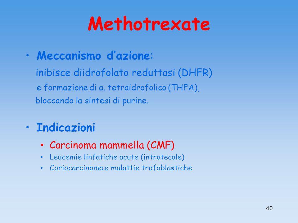 Methotrexate Meccanismo dazione: inibisce diidrofolato reduttasi (DHFR) e formazione di a. tetraidrofolico (THFA), bloccando la sintesi di purine. Ind