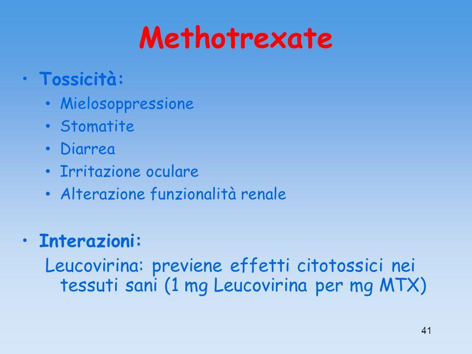 Tossicità: Mielosoppressione Stomatite Diarrea Irritazione oculare Alterazione funzionalità renale Interazioni: Leucovirina: previene effetti citotoss