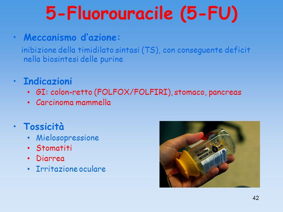 5-Fluorouracile (5-FU) Meccanismo dazione: inibizione della timidilato sintasi (TS), con conseguente deficit nella biosintesi delle purine Indicazioni