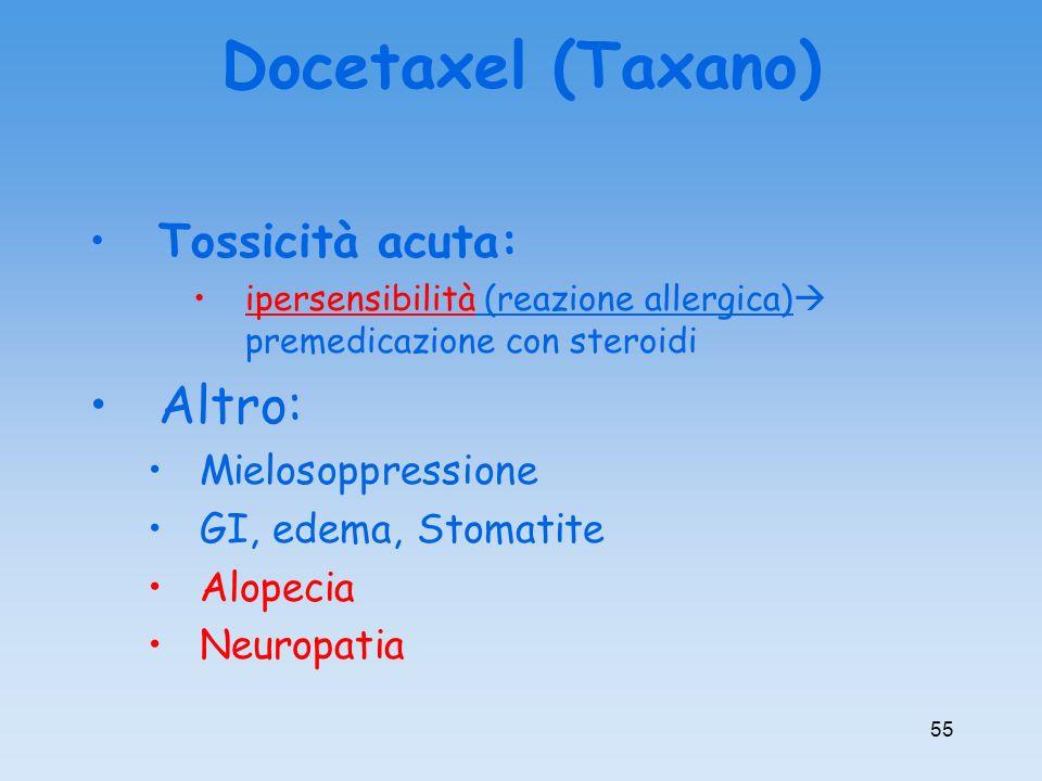 Docetaxel (Taxano) Tossicità acuta: ipersensibilità (reazione allergica) premedicazione con steroidi Altro: Mielosoppressione GI, edema, Stomatite Alo