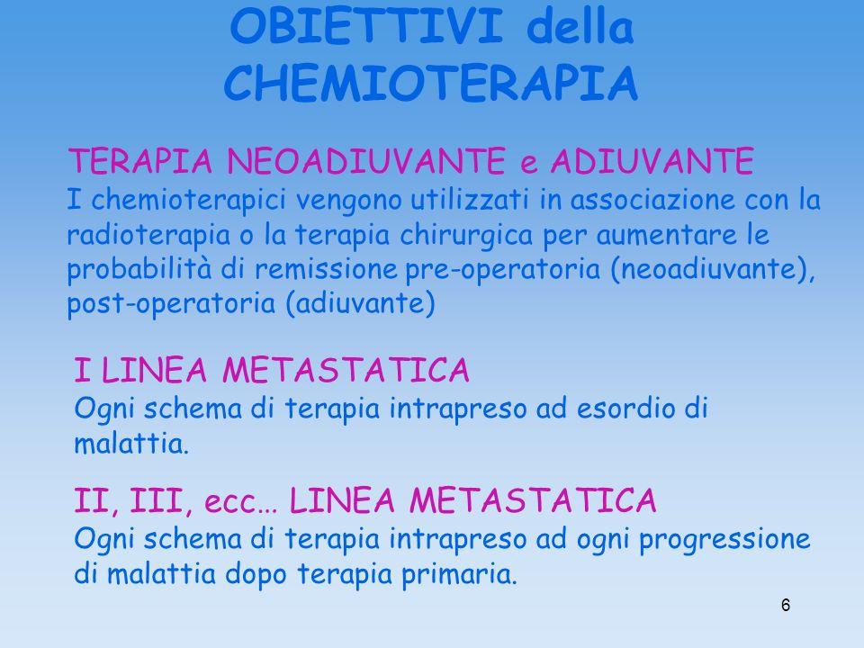 6 II, III, ecc… LINEA METASTATICA Ogni schema di terapia intrapreso ad ogni progressione di malattia dopo terapia primaria. TERAPIA NEOADIUVANTE e ADI