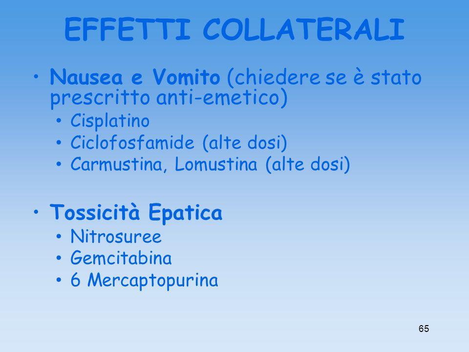 Nausea e Vomito (chiedere se è stato prescritto anti-emetico) Cisplatino Ciclofosfamide (alte dosi) Carmustina, Lomustina (alte dosi) Tossicità Epatic