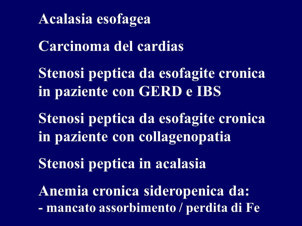 Acalasia esofagea Carcinoma del cardias Stenosi peptica da esofagite cronica in paziente con GERD e IBS Stenosi peptica da esofagite cronica in paziente con collagenopatia Stenosi peptica in acalasia Anemia cronica sideropenica da: - mancato assorbimento / perdita di Fe