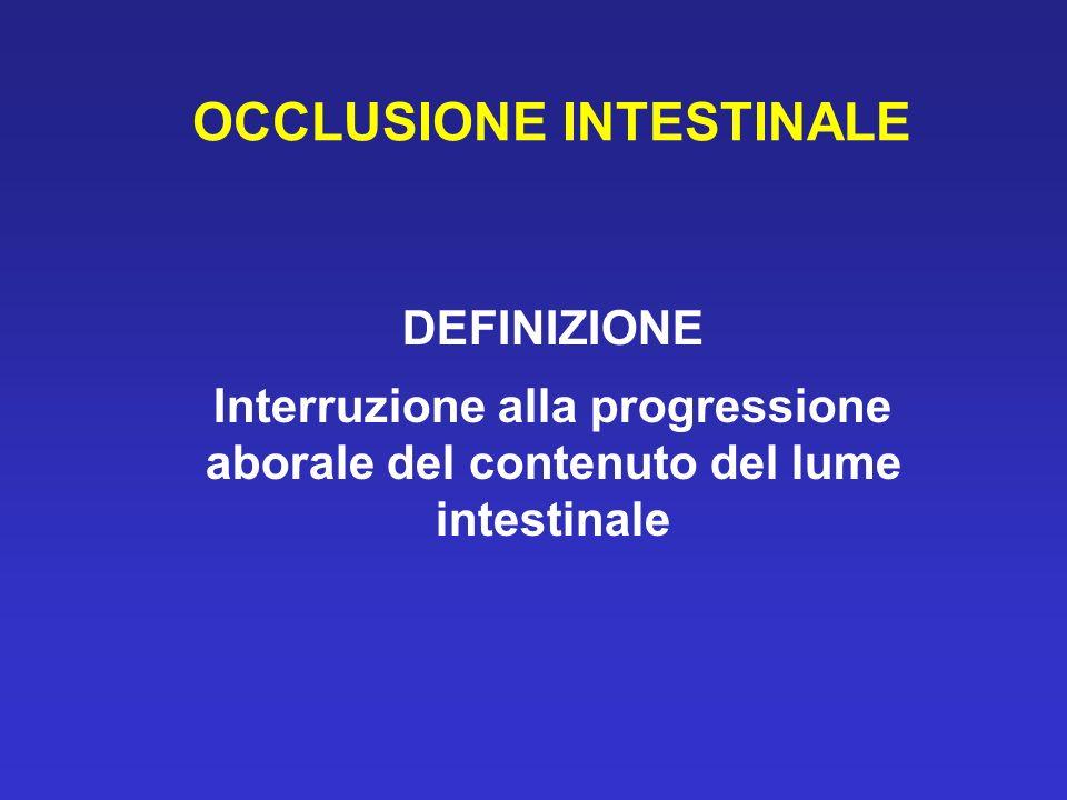 OCCLUSIONE INTESTINALE DEFINIZIONE Interruzione alla progressione aborale del contenuto del lume intestinale