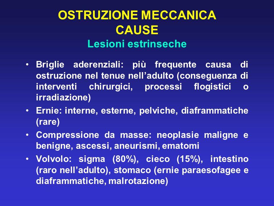OSTRUZIONE MECCANICA CAUSE Lesioni estrinseche Briglie aderenziali: più frequente causa di ostruzione nel tenue nelladulto (conseguenza di interventi
