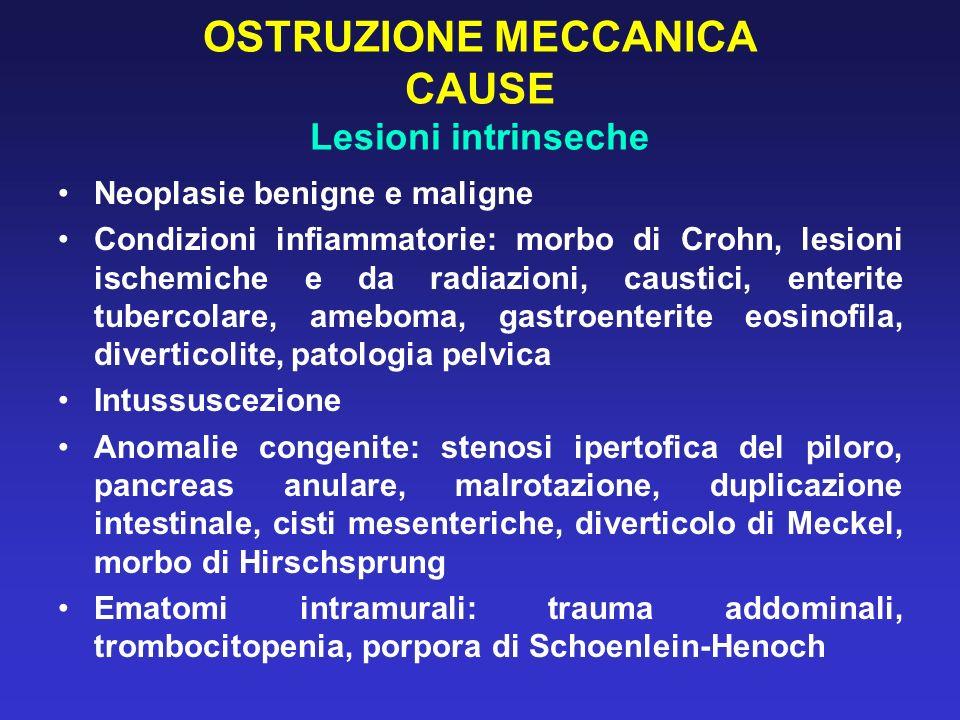 OSTRUZIONE MECCANICA CAUSE Lesioni intrinseche Neoplasie benigne e maligne Condizioni infiammatorie: morbo di Crohn, lesioni ischemiche e da radiazion
