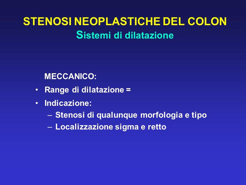STENOSI NEOPLASTICHE DEL COLON S istemi di dilatazione MECCANICO: Range di dilatazione = Indicazione: –Stenosi di qualunque morfologia e tipo –Localiz