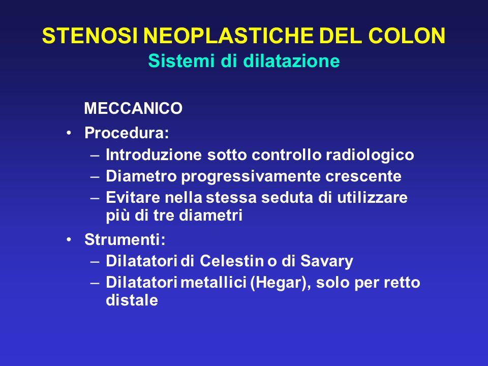 STENOSI NEOPLASTICHE DEL COLON Sistemi di dilatazione MECCANICO Procedura: –Introduzione sotto controllo radiologico –Diametro progressivamente cresce