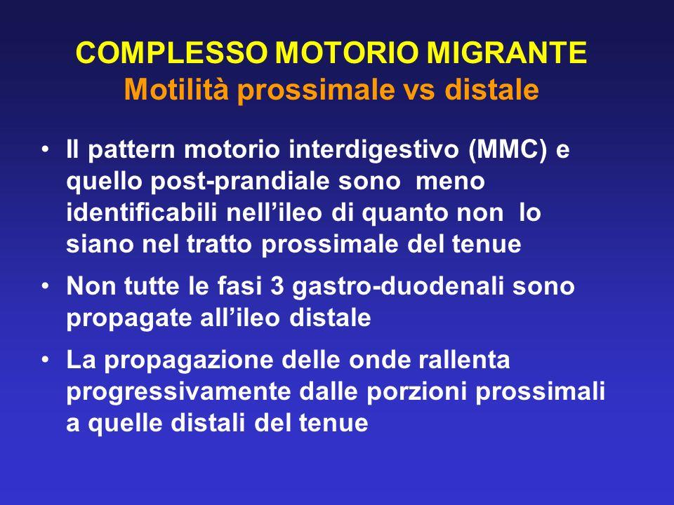 COMPLESSO MOTORIO MIGRANTE Motilità prossimale vs distale Il pattern motorio interdigestivo (MMC) e quello post-prandiale sono meno identificabili nel