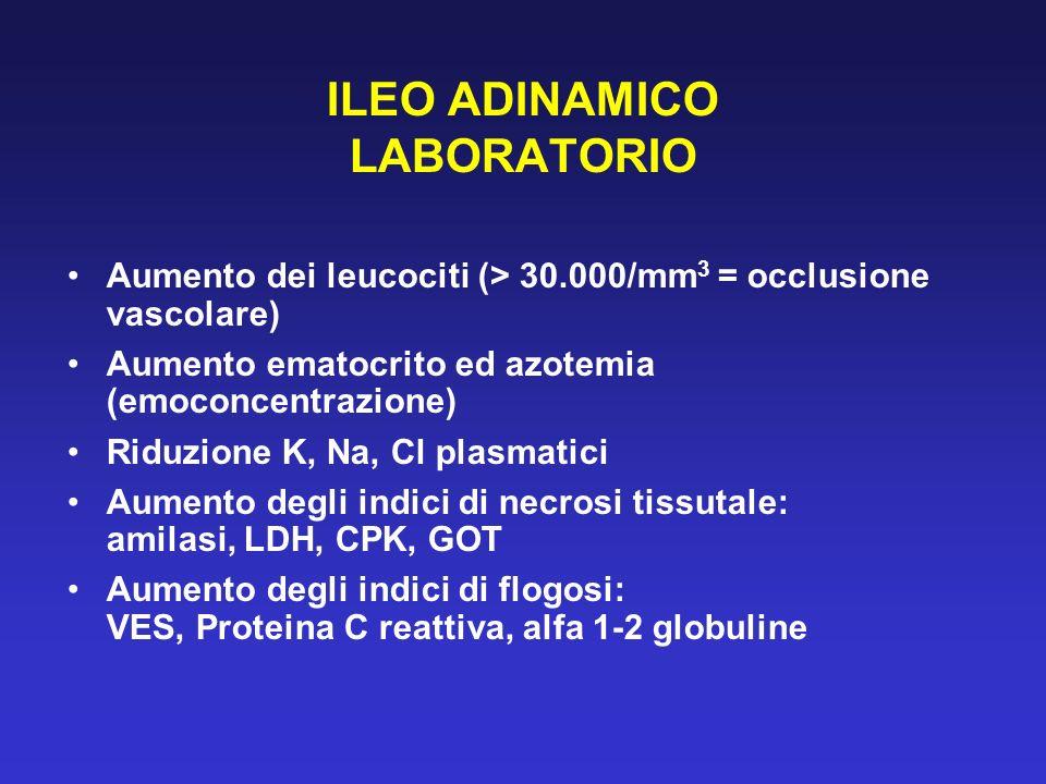 ILEO ADINAMICO LABORATORIO Aumento dei leucociti (> 30.000/mm 3 = occlusione vascolare) Aumento ematocrito ed azotemia (emoconcentrazione) Riduzione K