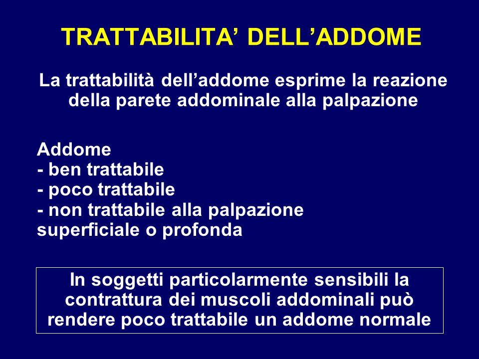 TRATTABILITA DELLADDOME La trattabilità delladdome esprime la reazione della parete addominale alla palpazione Addome - ben trattabile - poco trattabi