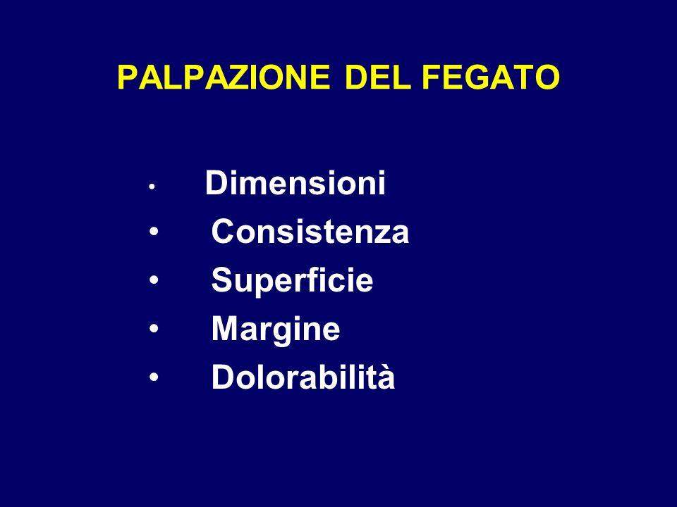 PALPAZIONE DEL FEGATO Dimensioni Consistenza Superficie Margine Dolorabilità