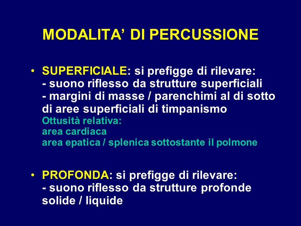 MODALITA DI PERCUSSIONE SUPERFICIALE: si prefigge di rilevare: - suono riflesso da strutture superficiali - margini di masse / parenchimi al di sotto
