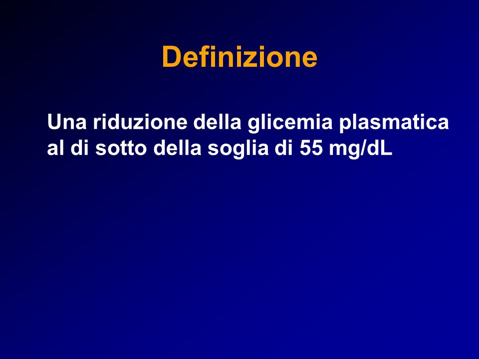 Cause di ipoglicemia a digiuno CON IPERINSULINEMIA: – Insulinoma – Nesidioblastosi (iperplasia insulare) – Iatrogena da insulina o sulfoniluree per terapia anti- diabete (complicanza del diabete) – Factizia, da assunzione deliberata in assenza di diabete – Autoimmune (anticorpi anti-insulina) SENZA IPERINSULINEMIA: – Insufficienza epatica o renale – Glicogenosi – Cachessia, masse tumorali estese – Ipocortisolismo (m.