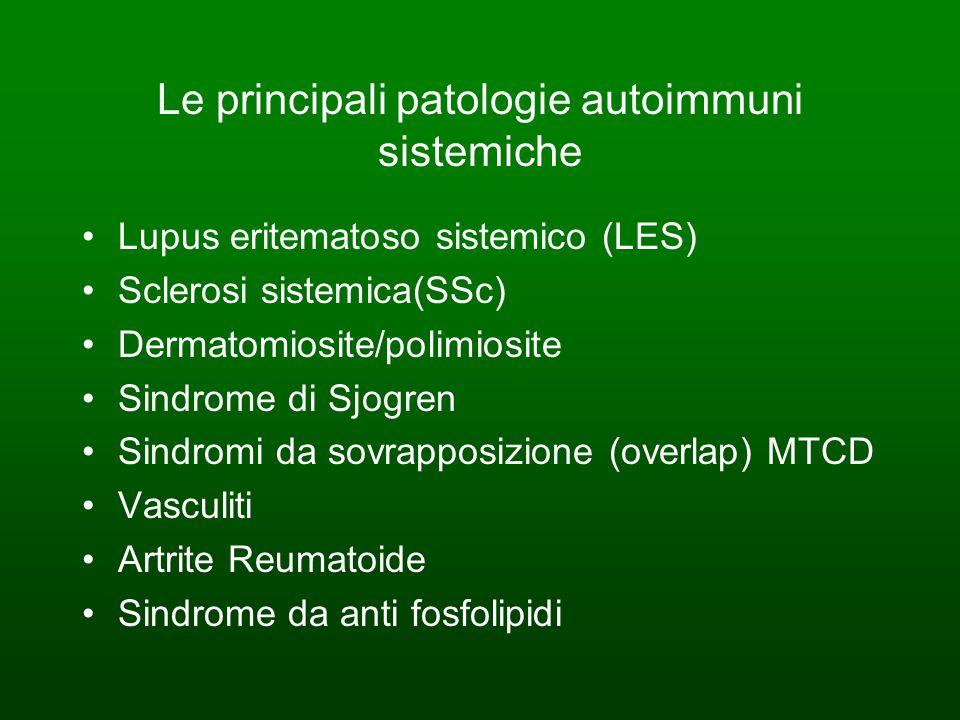 Le principali patologie autoimmuni sistemiche Lupus eritematoso sistemico (LES) Sclerosi sistemica(SSc) Dermatomiosite/polimiosite Sindrome di Sjogren