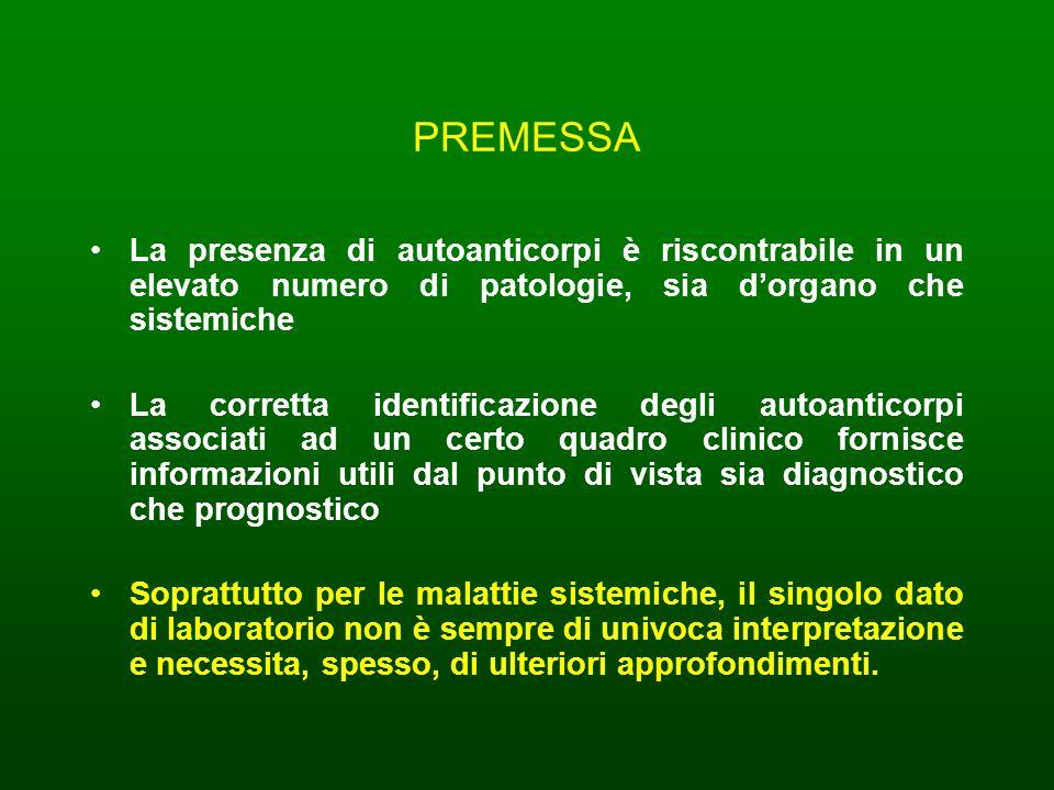 PREMESSA La presenza di autoanticorpi è riscontrabile in un elevato numero di patologie, sia dorgano che sistemiche La corretta identificazione degli