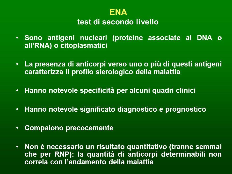 ENA test di secondo livello Sono antigeni nucleari (proteine associate al DNA o allRNA) o citoplasmatici La presenza di anticorpi verso uno o più di q