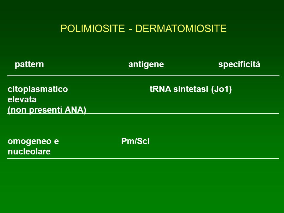 POLIMIOSITE - DERMATOMIOSITE patternantigene specificità citoplasmaticotRNA sintetasi (Jo1) elevata (non presenti ANA) omogeneo ePm/Scl nucleolare