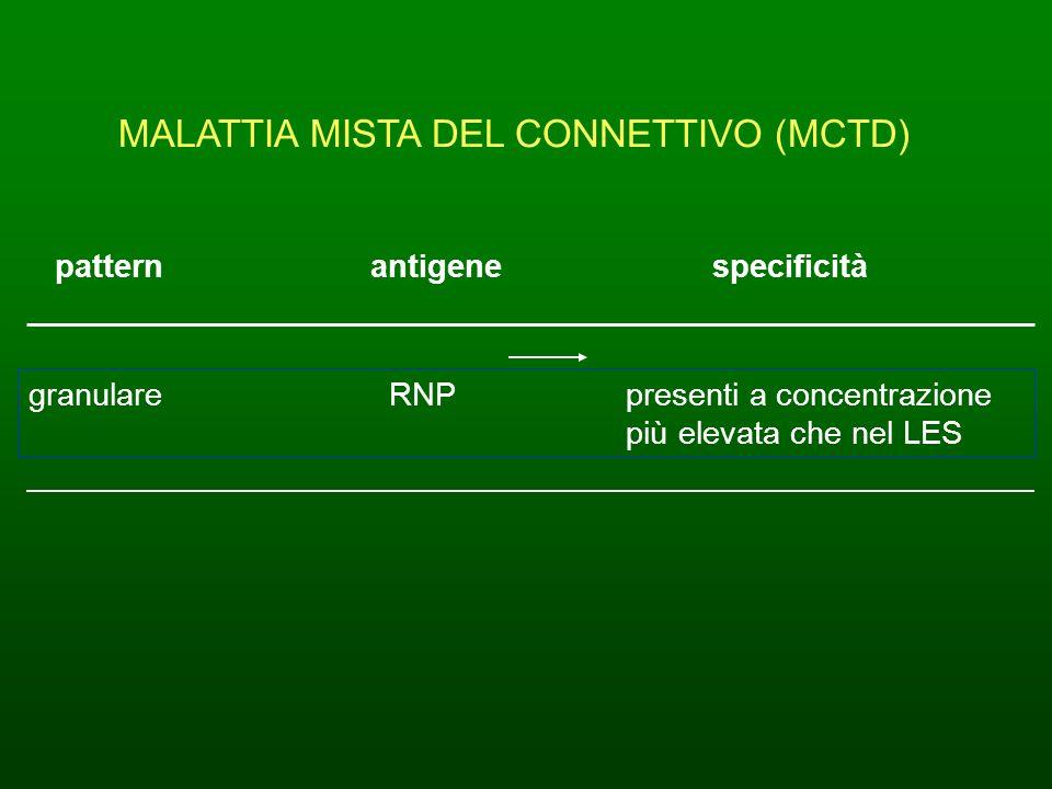 MALATTIA MISTA DEL CONNETTIVO (MCTD) patternantigene specificità granulare RNP presenti a concentrazione più elevata che nel LES