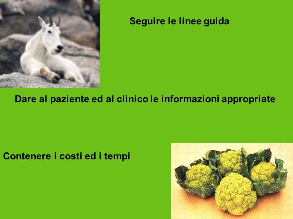 Seguire le linee guida Dare al paziente ed al clinico le informazioni appropriate Contenere i costi ed i tempi