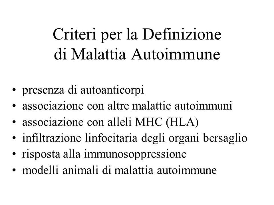 Criteri per la Definizione di Malattia Autoimmune presenza di autoanticorpi associazione con altre malattie autoimmuni associazione con alleli MHC (HL