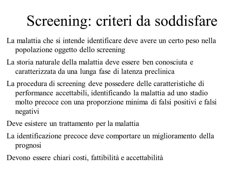 Screening: criteri da soddisfare La malattia che si intende identificare deve avere un certo peso nella popolazione oggetto dello screening La storia