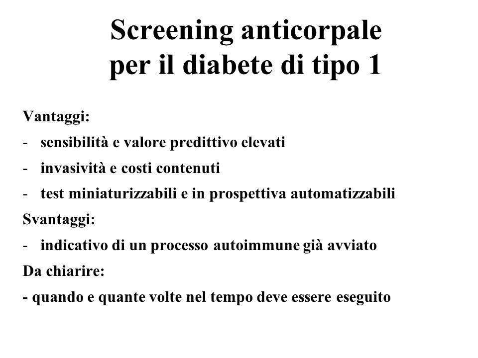 Screening anticorpale per il diabete di tipo 1 Vantaggi: -sensibilità e valore predittivo elevati -invasività e costi contenuti -test miniaturizzabili