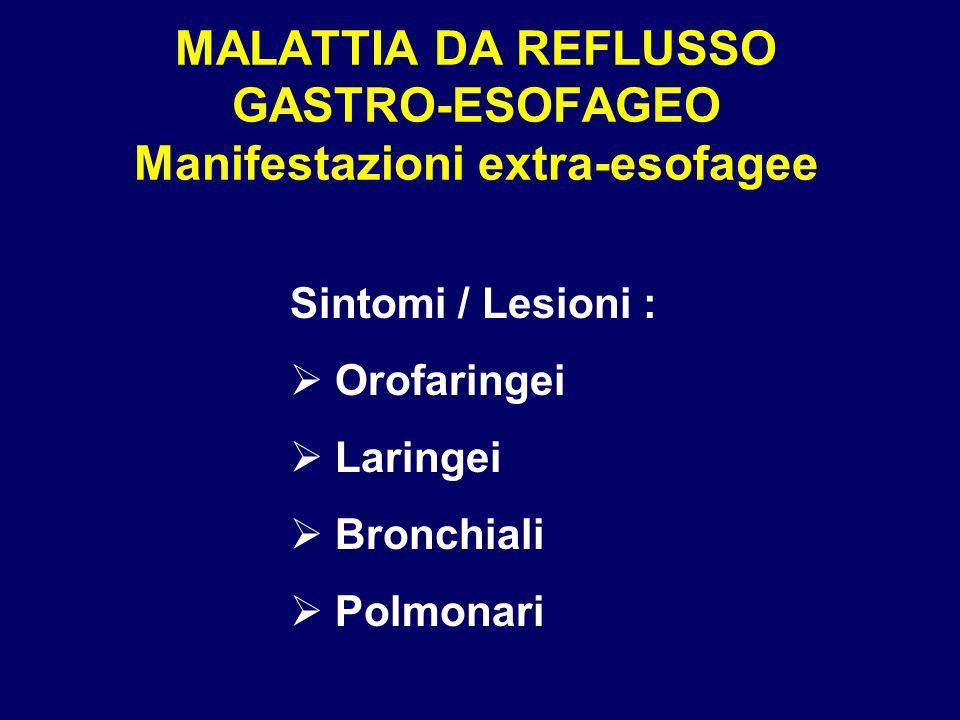 MALATTIA DA REFLUSSO GASTRO-ESOFAGEO Manifestazioni extra-esofagee Sintomi / Lesioni : Orofaringei Laringei Bronchiali Polmonari