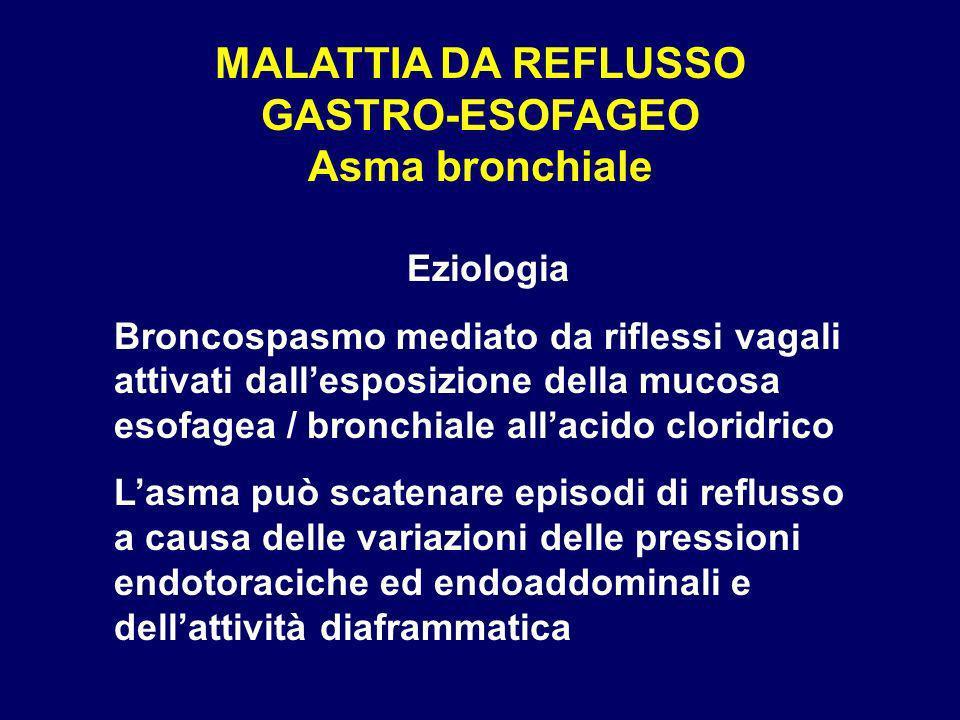 MALATTIA DA REFLUSSO GASTRO-ESOFAGEO Asma bronchiale Eziologia Broncospasmo mediato da riflessi vagali attivati dallesposizione della mucosa esofagea