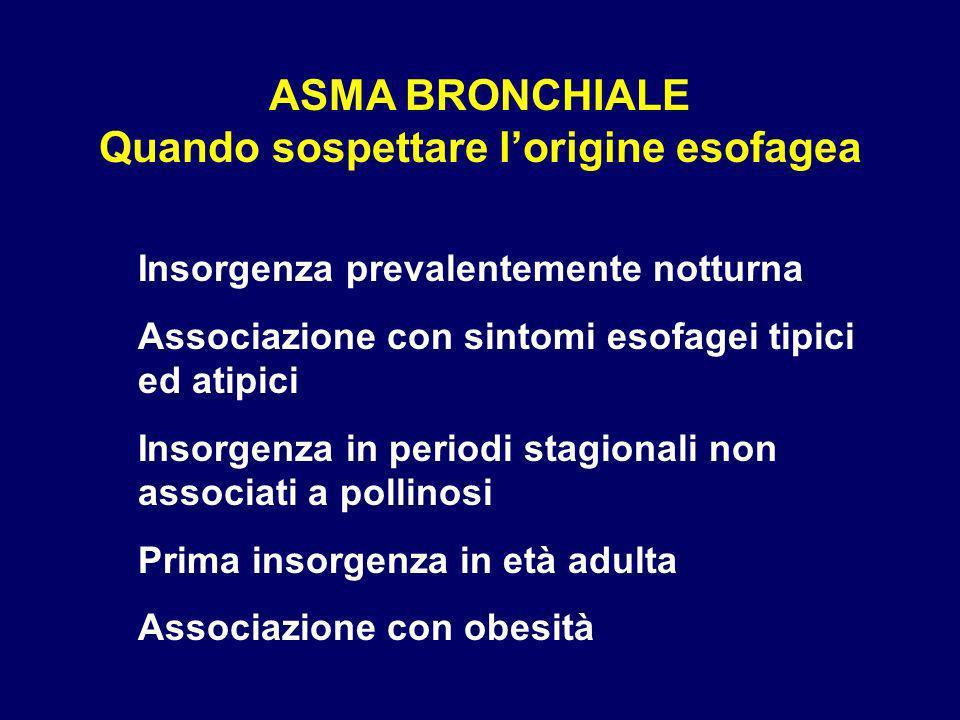 ASMA BRONCHIALE Quando sospettare lorigine esofagea Insorgenza prevalentemente notturna Associazione con sintomi esofagei tipici ed atipici Insorgenza