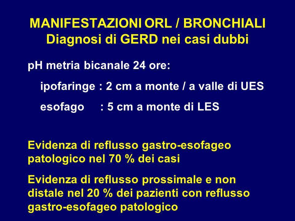 MANIFESTAZIONI ORL / BRONCHIALI Diagnosi di GERD nei casi dubbi pH metria bicanale 24 ore: ipofaringe : 2 cm a monte / a valle di UES esofago : 5 cm a