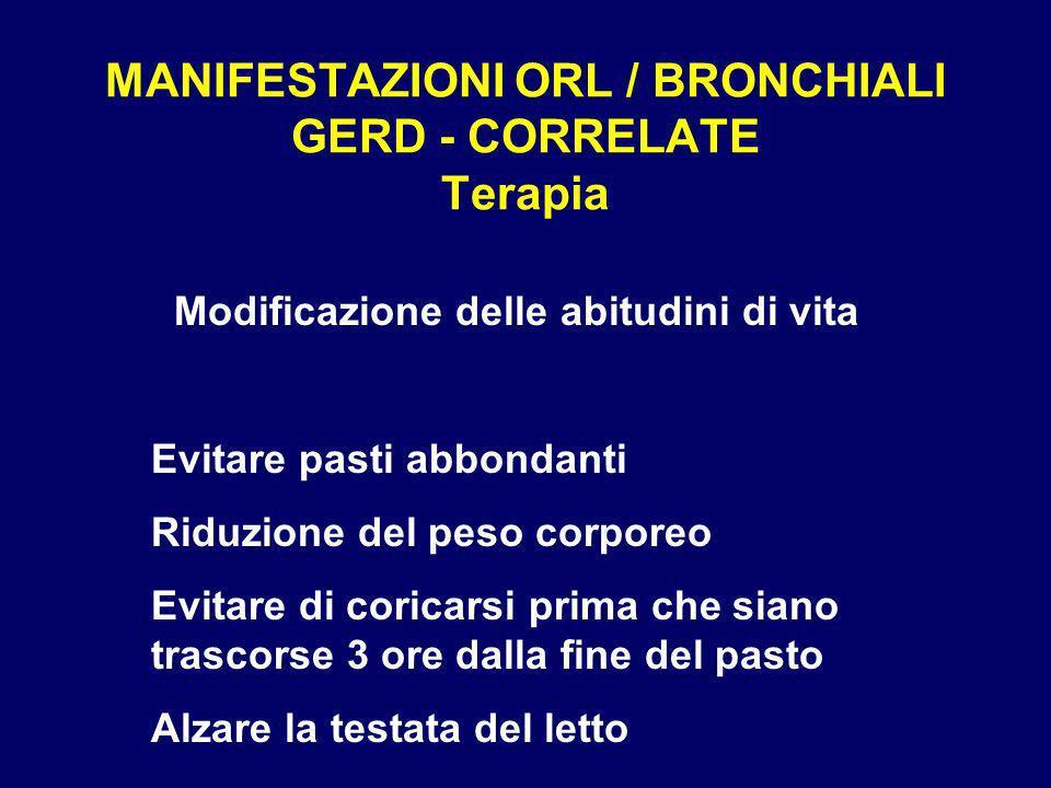 MANIFESTAZIONI ORL / BRONCHIALI GERD - CORRELATE Terapia Modificazione delle abitudini di vita Evitare pasti abbondanti Riduzione del peso corporeo Ev