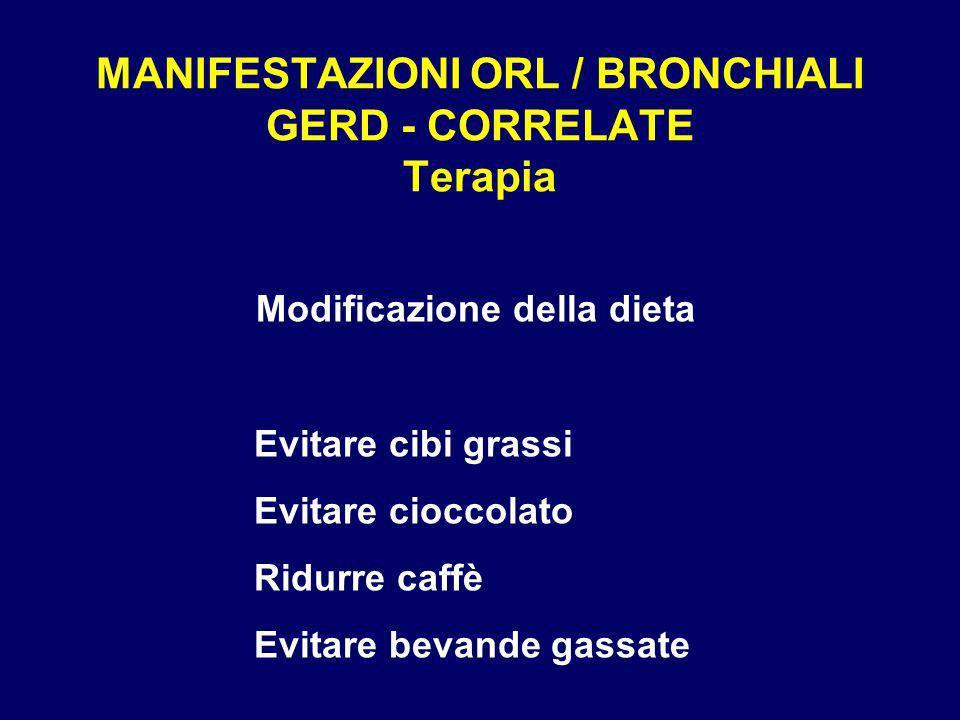 MANIFESTAZIONI ORL / BRONCHIALI GERD - CORRELATE Terapia Modificazione della dieta Evitare cibi grassi Evitare cioccolato Ridurre caffè Evitare bevand