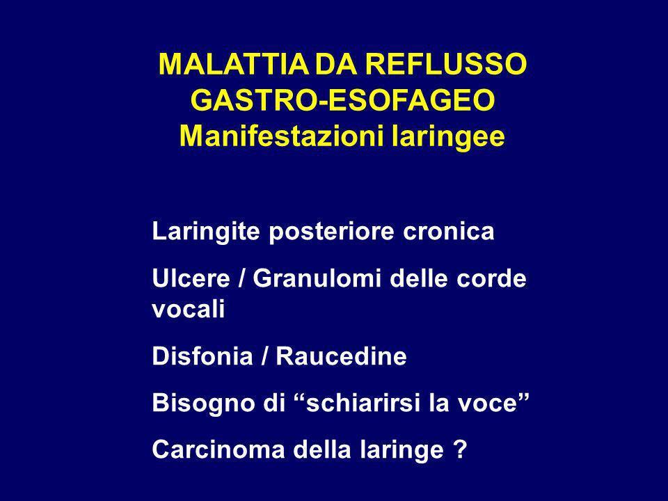 MALATTIA DA REFLUSSO GASTRO-ESOFAGEO Manifestazioni laringee Laringite posteriore cronica Ulcere / Granulomi delle corde vocali Disfonia / Raucedine B
