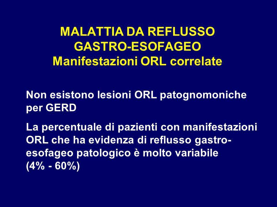 MALATTIA DA REFLUSSO GASTRO-ESOFAGEO Manifestazioni ORL correlate Non esistono lesioni ORL patognomoniche per GERD La percentuale di pazienti con mani