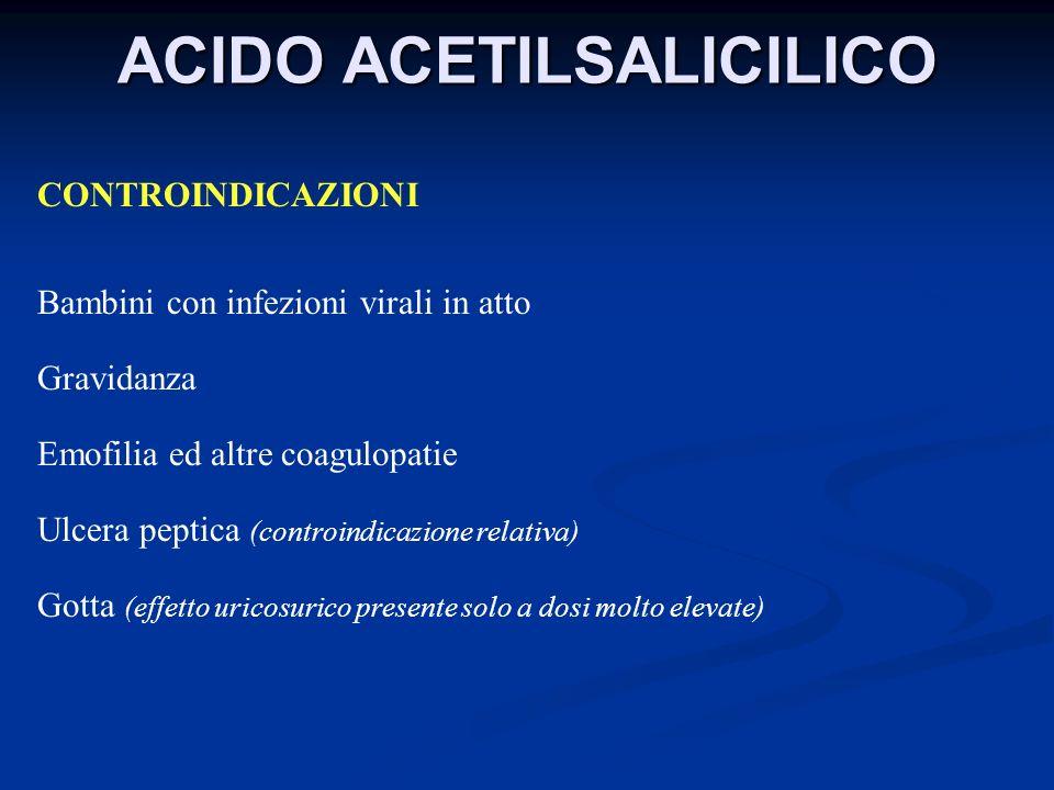 ACIDO ACETILSALICILICO CONTROINDICAZIONI Bambini con infezioni virali in atto Gravidanza Emofilia ed altre coagulopatie Ulcera peptica (controindicazi