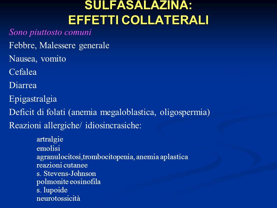 SULFASALAZINA: EFFETTI COLLATERALI Sono piuttosto comuni Febbre, Malessere generale Nausea, vomito Cefalea Diarrea Epigastralgia Deficit di folati (an