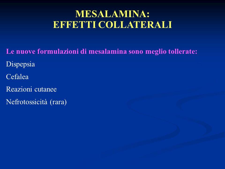 MESALAMINA: EFFETTI COLLATERALI Le nuove formulazioni di mesalamina sono meglio tollerate: Dispepsia Cefalea Reazioni cutanee Nefrotossicità (rara)