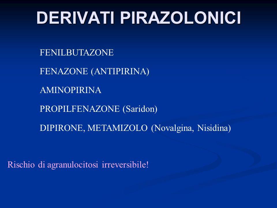 DERIVATI PIRAZOLONICI FENILBUTAZONE FENAZONE (ANTIPIRINA) AMINOPIRINA PROPILFENAZONE (Saridon) DIPIRONE, METAMIZOLO (Novalgina, Nisidina) Rischio di a