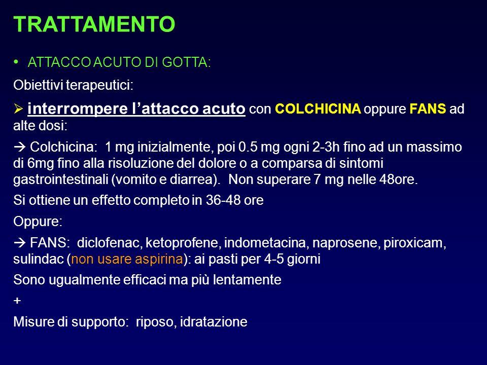 TRATTAMENTO ATTACCO ACUTO DI GOTTA: Obiettivi terapeutici: interrompere lattacco acuto con COLCHICINA oppure FANS ad alte dosi: Colchicina: 1 mg inizi