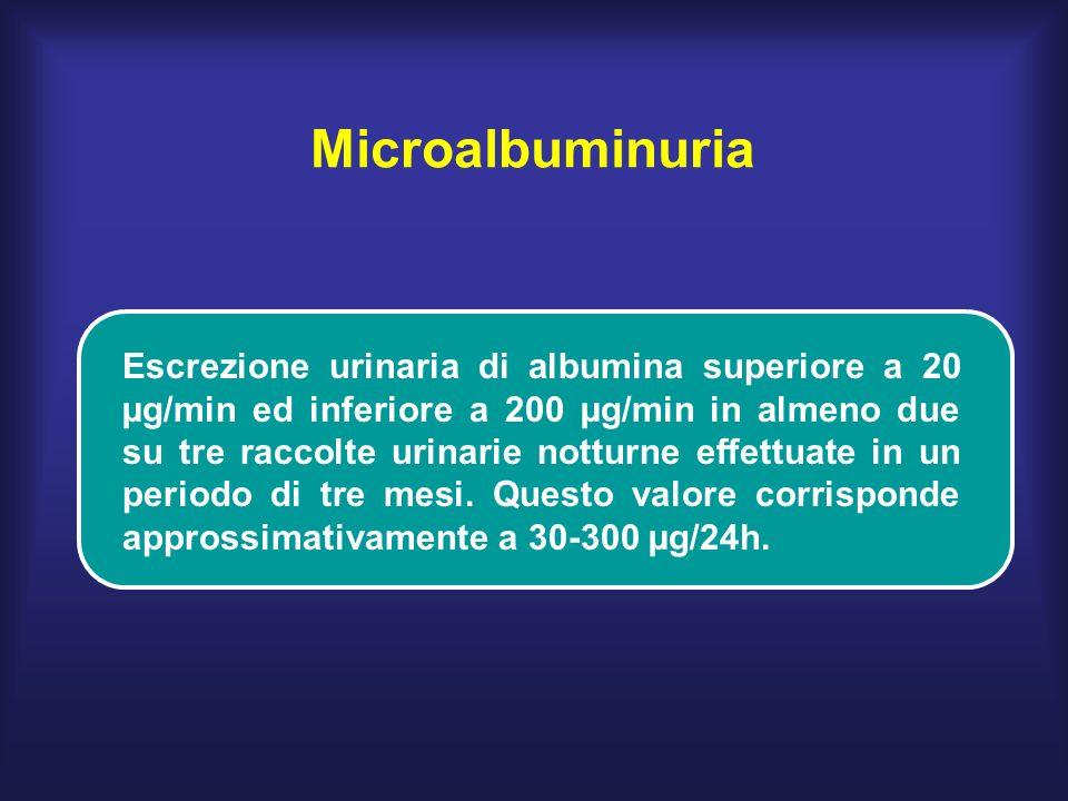 Microalbuminuria Escrezione urinaria di albumina superiore a 20 µg/min ed inferiore a 200 µg/min in almeno due su tre raccolte urinarie notturne effettuate in un periodo di tre mesi.