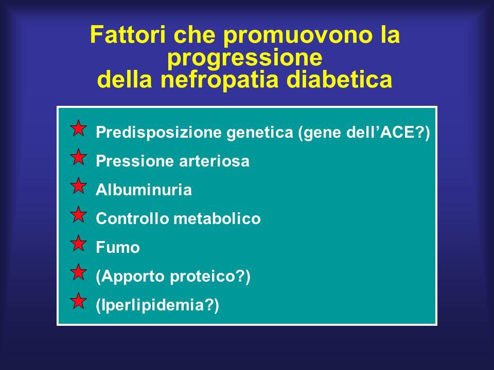 Fattori che promuovono la progressione della nefropatia diabetica Predisposizione genetica (gene dellACE?) Pressione arteriosa (Iperlipidemia?) (Apporto proteico?) Fumo Controllo metabolico Albuminuria