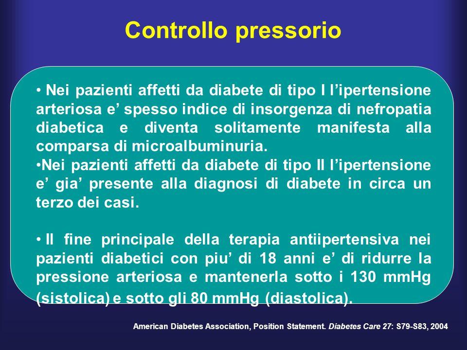 Controllo pressorio Nei pazienti affetti da diabete di tipo I lipertensione arteriosa e spesso indice di insorgenza di nefropatia diabetica e diventa solitamente manifesta alla comparsa di microalbuminuria.