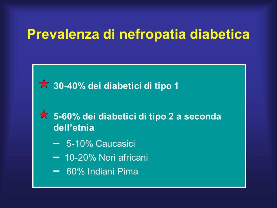 Prevalenza di nefropatia diabetica 30-40% dei diabetici di tipo 1 5-60% dei diabetici di tipo 2 a seconda delletnia 10-20% Neri africani 60% Indiani Pima 5-10% Caucasici