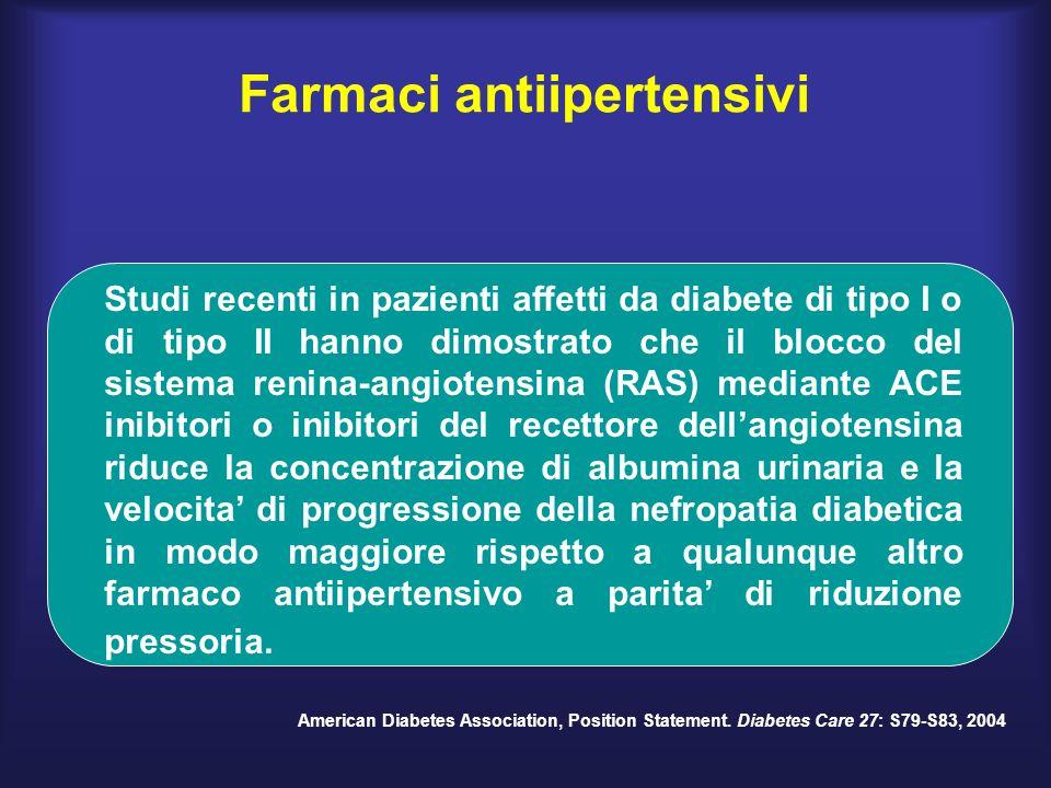 Studi recenti in pazienti affetti da diabete di tipo I o di tipo II hanno dimostrato che il blocco del sistema renina-angiotensina (RAS) mediante ACE inibitori o inibitori del recettore dellangiotensina riduce la concentrazione di albumina urinaria e la velocita di progressione della nefropatia diabetica in modo maggiore rispetto a qualunque altro farmaco antiipertensivo a parita di riduzione pressoria.
