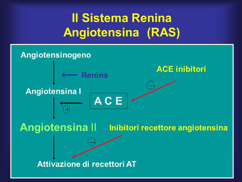 Angiotensinogeno Angiotensina I Angiotensina II A C E + Attivazione di recettori AT Il Sistema Renina Angiotensina (RAS) ACE inibitori Inibitori recettore angiotensina Renina ----