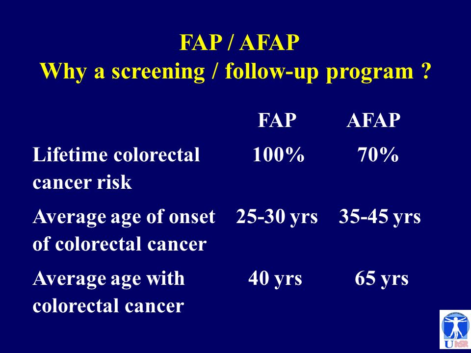 FAP / AFAP Why a screening / follow-up program ? FAP AFAP Lifetime colorectal 100% 70% cancer risk Average age of onset 25-30 yrs 35-45 yrs of colorec